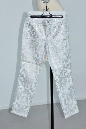 Cambio Pantalon 7/8 blanc-gris clair coton