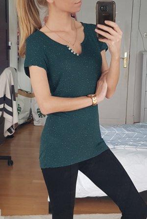 Knöpfchen Shirt in Dunkelgrün meliert