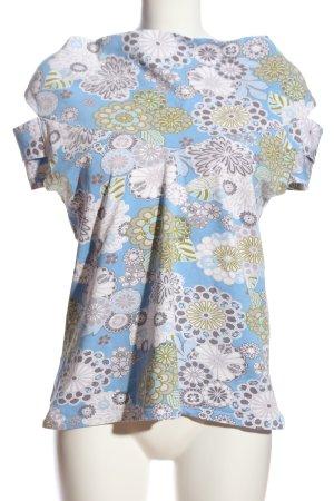 Kobra Print-Shirt Blumenmuster Casual-Look