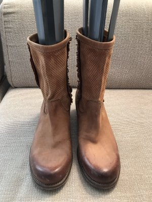Slouch Booties brown-cognac-coloured leather