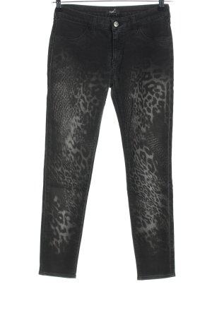 Kocca Skinny Jeans schwarz-hellgrau Animalmuster Casual-Look