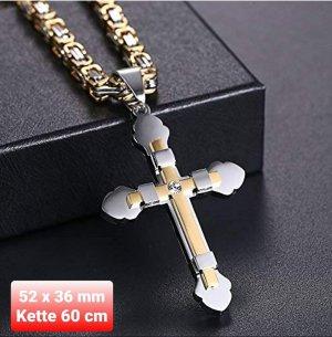 König's Kette mit Kreuz Anhänger aus Chirurgenstahl