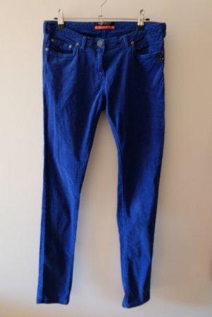 Maison Scotch Corduroy Trousers blue-neon blue cotton