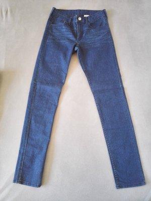 H&M Jeans taille haute bleu-bleu foncé coton