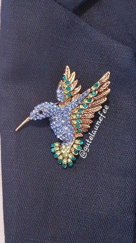 Kolibri blau Brosche Strass Vogel Anhänger Geschenk