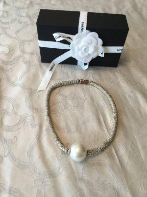 keine Marke Collana di perle oro-bianco sporco