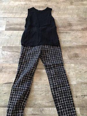 Zara Basic Pantalón elástico negro-beige claro