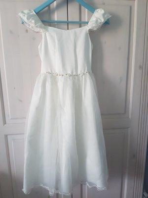 Kommunionkleid - festliches Kleid - Sommerkleid - Röschen- weißes Kleid von Kinderbutt Gr. 140
