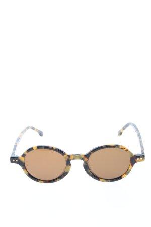 Komono runde Sonnenbrille schwarz-blassgelb abstraktes Muster Casual-Look