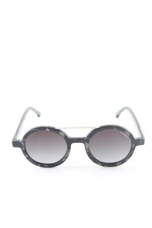 Komono runde Sonnenbrille schwarz-hellgrau abstraktes Muster Casual-Look