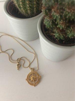 Kompass Kette in Goldoptik