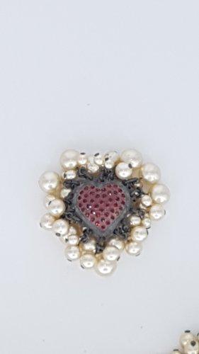Konplott Hearts in White Caviar  Brosche