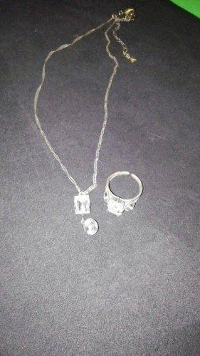 Konplott Set Kette und Ring Strass Silber