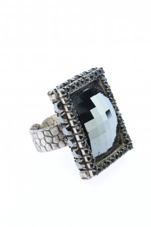 Konplott Bague incrustée de pierres argenté-noir élégant