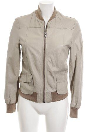 Kontatto Giacca in pelle marrone-bianco sporco stile da moda di strada