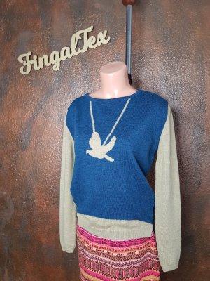kooi Strick pullover 36 blau mit Vogel asymmetrisch