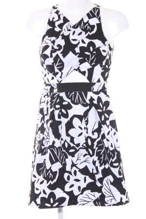 Kookai A-Linien Kleid weiß-schwarz Blumenmuster Casual-Look