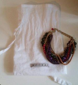Kookai Gliederarmband in Gold mit bunten Perlen