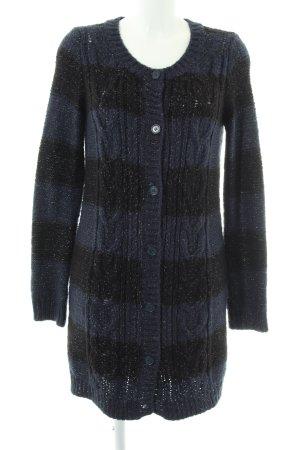 Kookai Grobstrickjacke schwarz-blau Streifenmuster Casual-Look