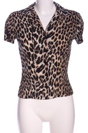 Kookai Hemd-Bluse braun-schwarz Allover-Druck extravaganter Stil