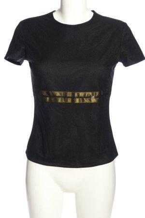 Kookai Kurzarm-Bluse schwarz-goldfarben Casual-Look