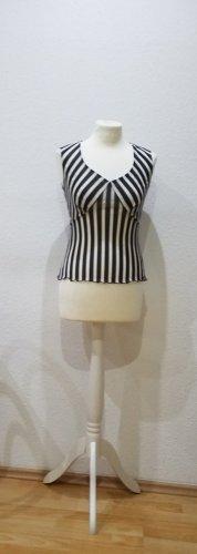 KOOKAÏ Kurzarm-Shirt, schwarz weiß gestreift, Rockabilly, Größe 36.