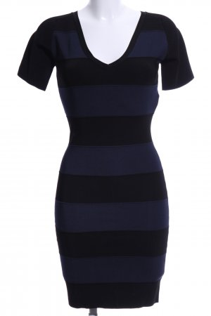 Kookai Kurzarmkleid schwarz-blau Streifenmuster Casual-Look