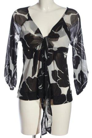 Kookai Langarm-Bluse schwarz-weiß abstraktes Muster Casual-Look