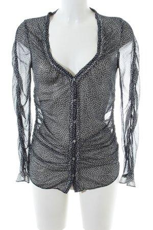 Kookai Langarm-Bluse schwarz-wollweiß Allover-Druck Elegant