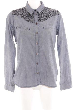 Kookai Langarmhemd stahlblau grafisches Muster Casual-Look