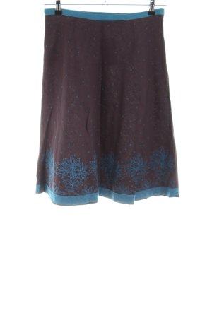 Kookai Falda de lino marrón-azul estampado floral look casual