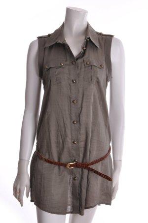 Kookai Longbluse mit Leder Flechtgürtel Baumwolle khaki 38 NEU/ UNGETRAGEN