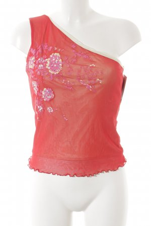 Kookai One-Shoulder-Top florales Muster Glitzersteinverzierung