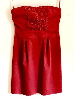 KOOKAI. Schulterfreies Etui-Kleid für den Sommer, rot, Größe 42, Baumwollmischung