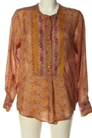 Kookai Blusa in seta arancione chiaro-rosso motivo astratto stile professionale