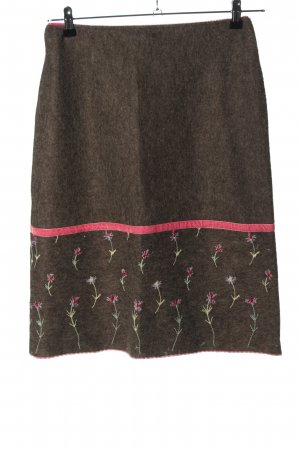 Kookai Knitted Skirt brown flower pattern casual look