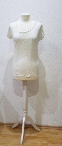 Kookai T-Shirt, weiß mit Goldrand und Netzeinsatz in Größe 36