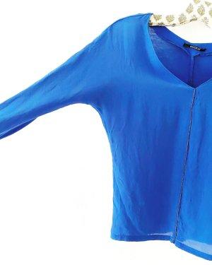Kookai • top • shirt • königsblau • seide • baumwolle