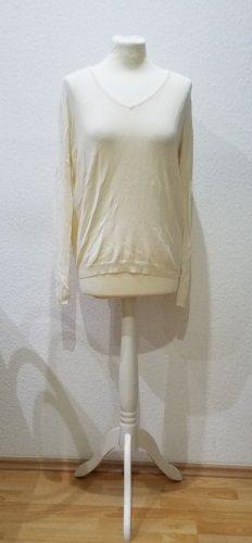 KOOKAI: weicher weißer Strickpulli mit Spitzeneinsatz im Rückenteil, Größe M