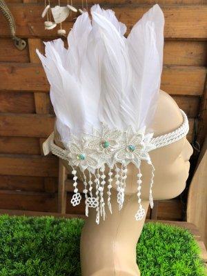 Handmade Ozdoby na głowę biały-w kolorze białej wełny