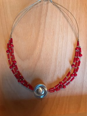 Handarbeit Collar de perlas color plata-rojo