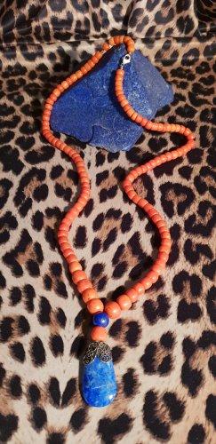 Collana di perle arancione-blu