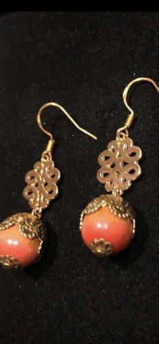 Korallen Ohrringe echt Silber 925 vergoldet neu