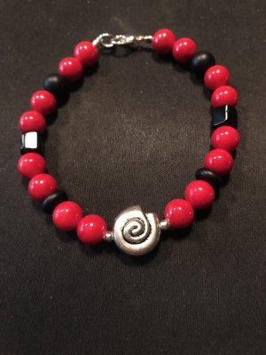 Handarbeit Armband met parels zwart-rood