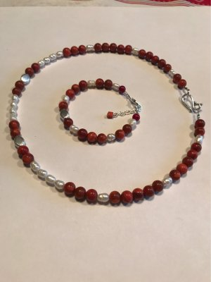 Korallen / Süßwasser Perlen  Collier mit Silberteilen & Armband