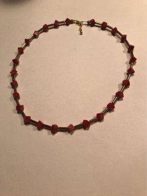 Handarbeit Collier Necklace gold-colored-carmine