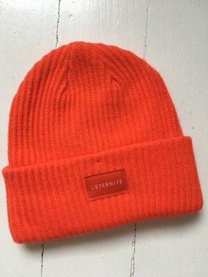 H&M Divided Chapeau en tricot orange fluo acrylique