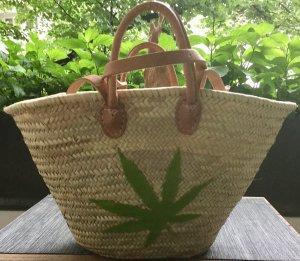 Korb Bast Weide cannabis Hanf marihuana Blatt Einkaufskorb Ibiza Hippie Unikat