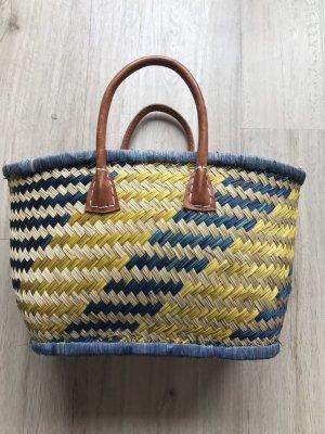 Basket Bag lime yellow-blue