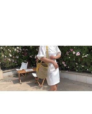 Torebka koszyk złotopomarańczowy-camel